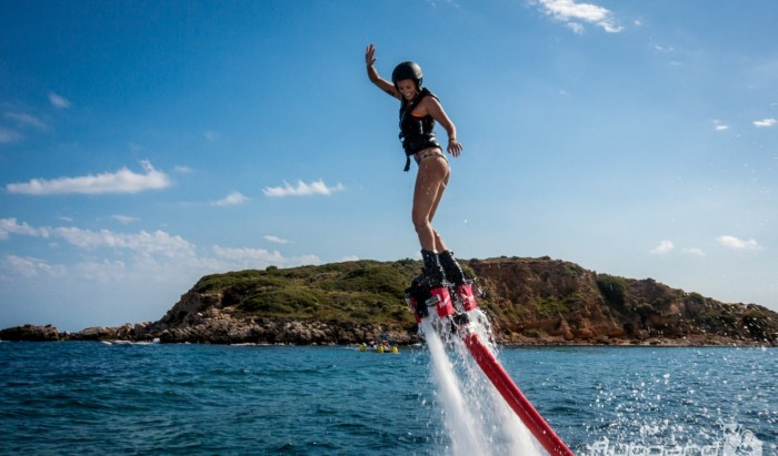 Having fun on the Flyboard in goa
